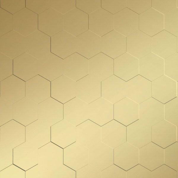 Vinyl Wall Covering Dimension Walls Honeycomb Metallic Gold