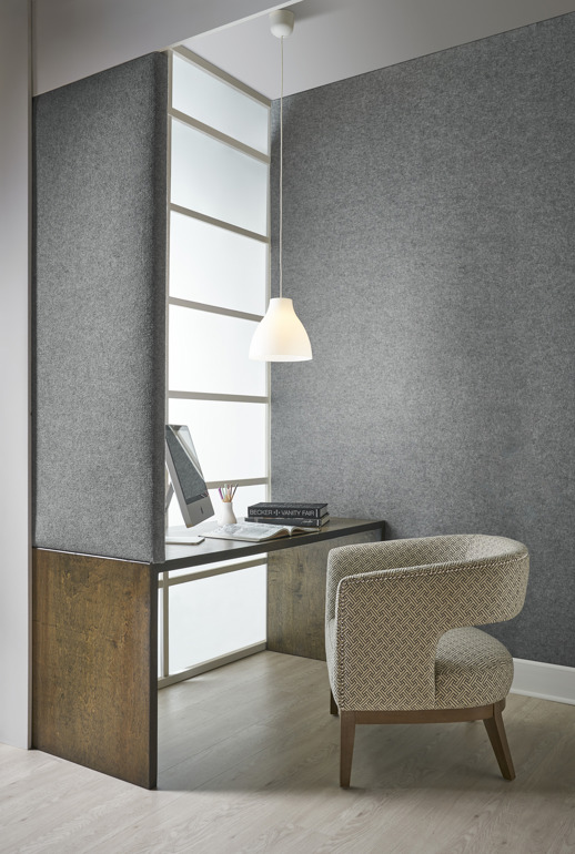 Acoustical Wallcovering Acoustical Resource Shanti Steel Room Scene