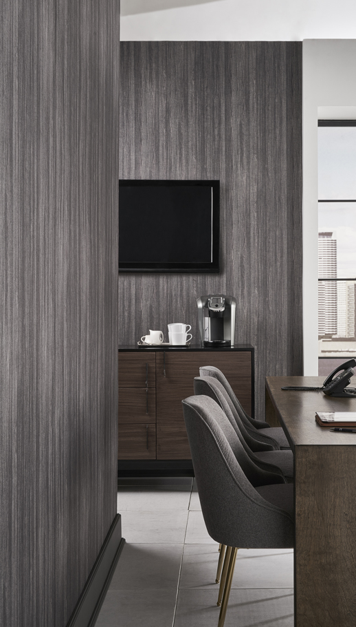 Acoustical Wallcovering Acoustical Resource Sherwood Barnwood Grey Room Scene