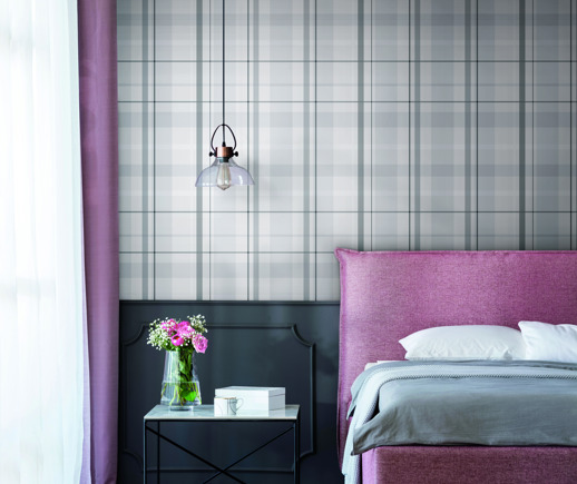 Vinyl Wall Covering Candice Olson Couture Artful Plaid Zinc Room Scene