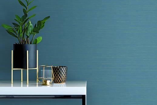 Vinyl Wall Covering Candice Olson Couture Luxe Silk Indigo Room Scene