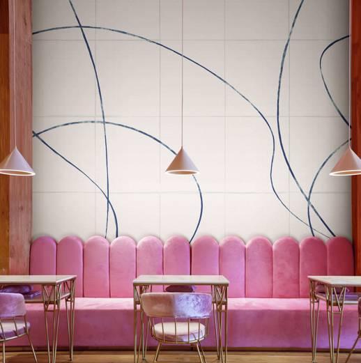 Vinyl Wall Covering Design Gallery Viva La Art Ebb and Flow Blue Streak Room Scene