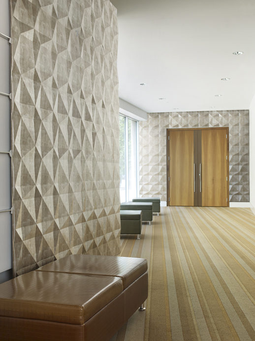 Vinyl Wall Covering Dimension Walls Faceted Metallic Silver Room Scene