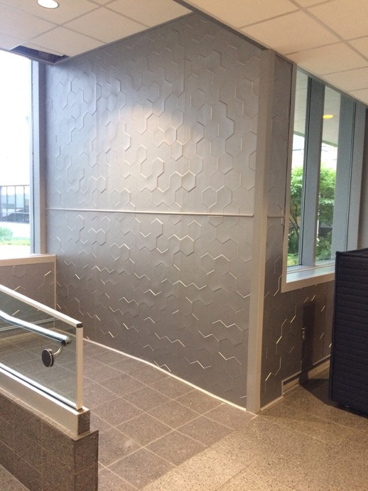 Vinyl Wall Covering Dimension Walls Honeycomb Metallic Silver Room Scene