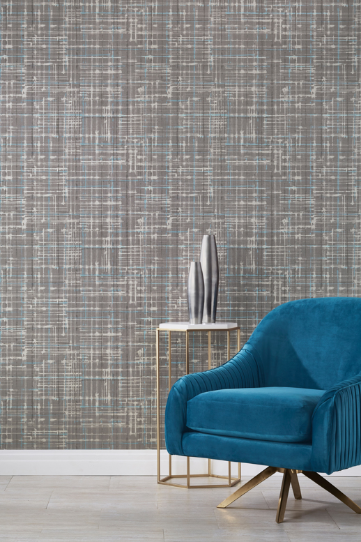 Vinyl Wall Covering Genon Contract Plaidish Smoky Luster Room Scene